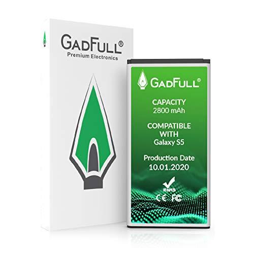 GadFull Akku für Samsung Galaxy S5 | Entspricht Dem Original EB-BG900BBE EB-BG900 | Lithium-Ionen-Akku der Modelle Galaxy S5 SM-G900F | Ersatz Handy-Akku für Ihr Smartphone