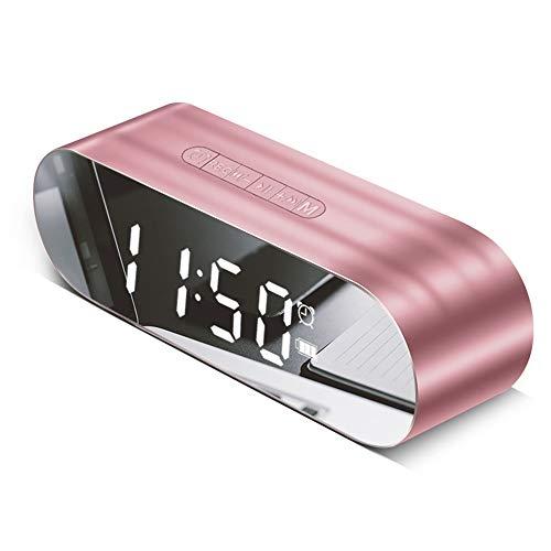 Led-wekker met FM-radio, draadloos, bluetooth-luidspreker, spiegel, laadindicator, USB, muziekspeler, digitaal, alarm klok Rose Gold.