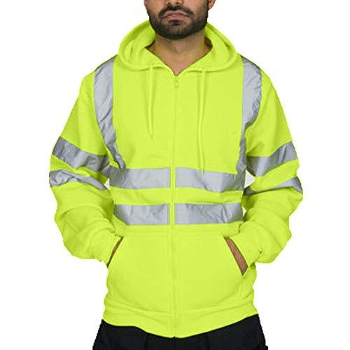 AmyGline Herren Kapuzenpullover Reflektierende Streifen Arbeitskleidung Langarm Pullover Kapuze Sweatshirt Reflexstreifen Männer Regenjacke Softshell Jacke Bauarbeiterjacke