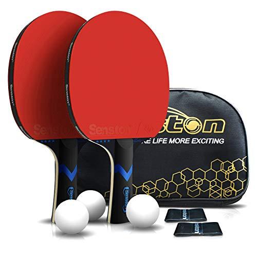 Senston Tischtennisschläger 2er Set, Tischtennisschlaeger mit 3 Bälle, Tischtennisschlaeger Profi