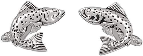 Men's country themed pair of fish design 3D argent country boutons de manchette