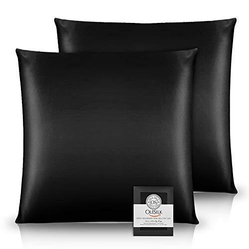OLESILK Funda de cojín 100% seda con cremallera, cuidado del cabello y la piel, 2 unidades, 65 x 65 cm, color negro