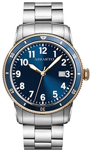 ASSARTO Watches ASH-8830T/B-BLU Oceantime-Series Taucheruhr mit Schweizer Uhrwerk, Saphirglas, Herrenuhr, Blaue Uhr, Edelstahluhr, Armbanduhr, Quarzuhr, Sportuhr, Unisexuhr, Damenuhr, Bicolor