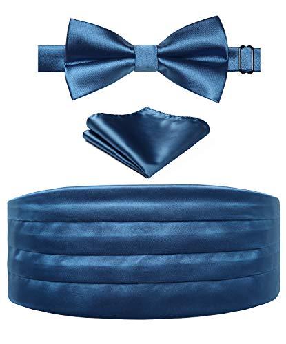 HISDERN Conjunto de corbata de lazo y panuelo de bolsillo