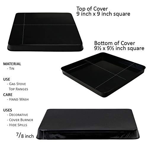 Reston Lloyd G-105-B Square Gas Stove Burner Covers, Set of 4, Black