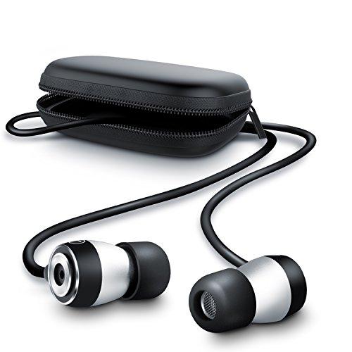 CSL - 650 ALU Auriculares audífonos estéreos - in-Ear Superiores de Aluminio de Gama Alta - Transductor acústico de 10 mm - Resistente Cable de aramida - Incluye Funda Cuadrada - Negro Plateado