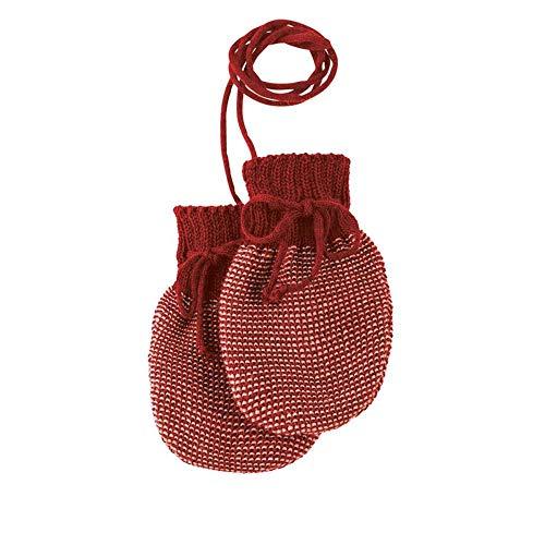 Disana Baby Strick-Handschuhe reine Bio-Merinowolle, Bordeaux-Rose, Gr. 0 (5-12 Monate)