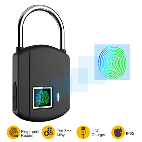 Fingerprint Padlock, IP65 Waterproof Smart Lock keyless Digital Lock, Travel Lock, USB...