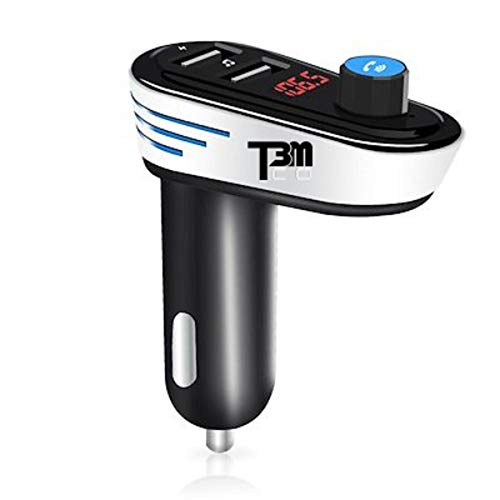 [2018] T3MCO Ultimate Coche Bluetooth FM transmisor 2 x Puerto USB de Carga rápida, Reproductor de MP3 para Coche