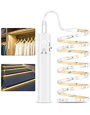 Ledband met bewegingsmelder, 1 m ledstrip, werkt op batterijen, led-strip met IR-afstandsbediening, 3500 K, warmwit, verlichting voor de verlichting van slaapkamer, kast en trap