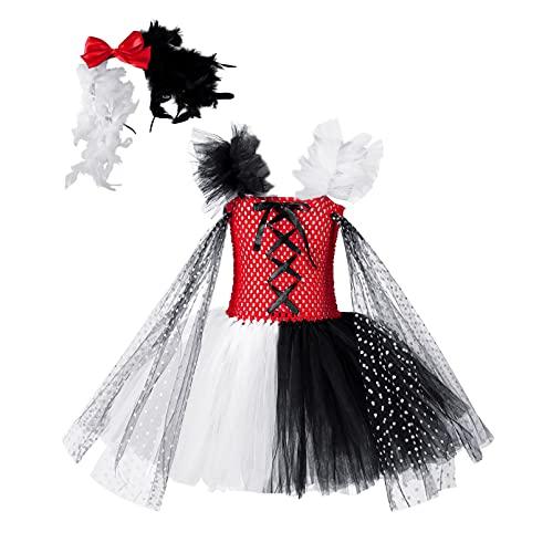 Aislor Vestito da Harley-Quinn Bambina Costumi da Halloween Carnevale Vestiti da Queen Clown Ragazze Abito da Strega Travestimento Costume Operato + Cerchietto per Capelli Rosso 10-12 Anni