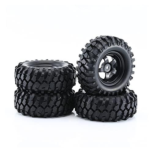UGUTER ZLD 4 unids Negro 1:10 RC Caucho de Coches Neumáticos y Llantas de Rueda para Fuera de Carretera RC Crawnler Buggy Resistencia a la abrasión Modelo de reemplazo Accesorio