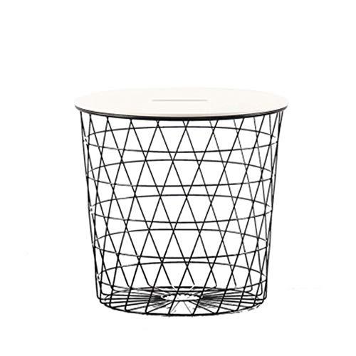N/Z Home Equipment Basket Beistelltisch Tablett Tisch Beistelltisch Couchtisch Wohnzimmer Schlafzimmer Nisttische Runder Beistelltisch (Farbe: Schwarz Größe: 44x42cm)