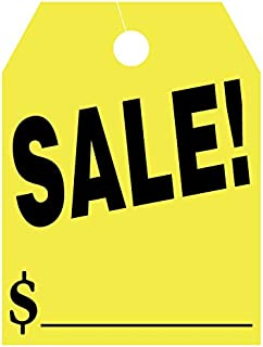 EZ Line Car Mirror Hang Tags Huge Fluorescent Sale Price Tags (Yellow)