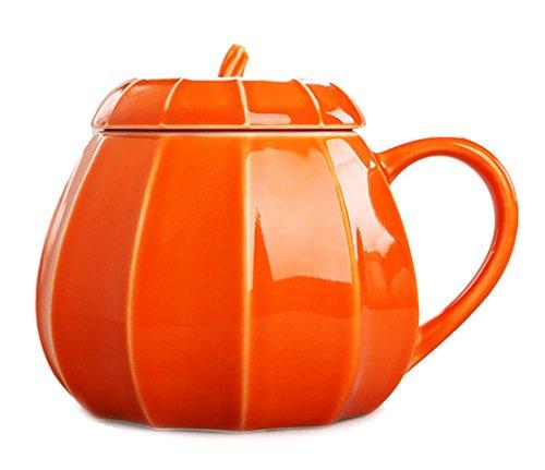 Pumpkin Ceramics Coffee Mug Milk Water Cup With Lid, Halloween Pumpkin Cup