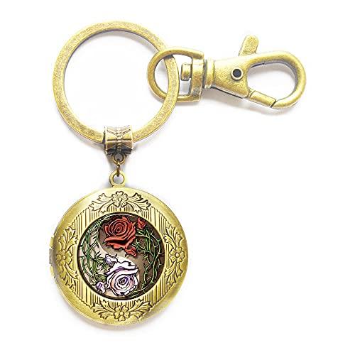 Yin-Yang-Rosen-Schlüsselanhänger, Yin-Yang-Rosen-Medaillon-Schlüsselanhänger, Yin-Yang-Rosen-Schmuck, Kunst-Schlüsselanhänger, Medaillon-Schlüsselanhänger, Schmuck, N083