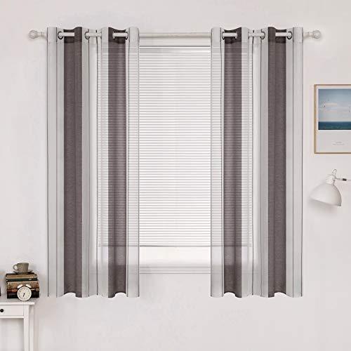 MIULEE Voile Vorhang Transparente Gardine aus Voile mit Ösen Schlaufenschal Ösenschals Transparent Fensterschal...