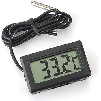 WINGONEER® Thermomètre Digital LCD Moniteur de température avec sonde externe Pour Réfrigérateur Congélateur Réfrigérateur Aquarium Black