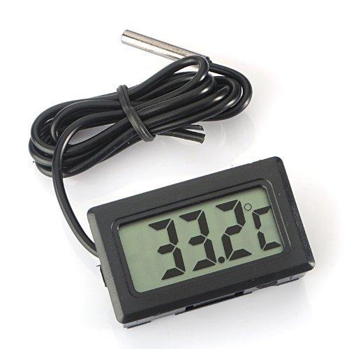 ARCELI Digital LCD Thermomètre Moniteur de Température avec Sonde Externe pour Réfrigérateur Congélateur Réfrigérateur Aquarium - Noir