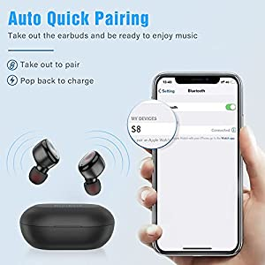 Kurdene Bluetooth Wireless Earbuds,Bluetooth Headphones with Charging Case Immersive Sounds IPX8 Waterproof Sport Mini Earphones Touch Control 24H Playtime Mic, for iPhone/Samsung/Windows/Android