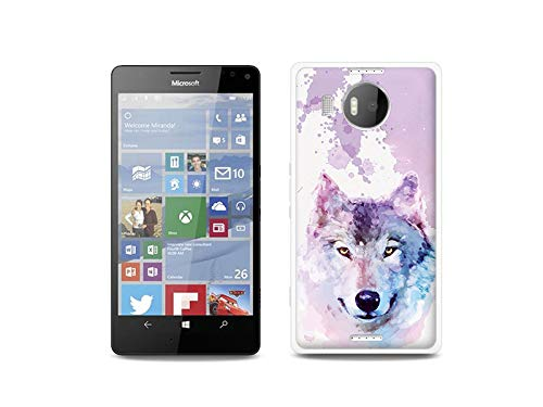 etuo Handyhülle für Microsoft Lumia 950 XL - Hülle, Silikon, Gummi Schutzhülle - Traumwolf