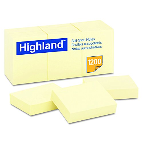 Highland Sticky Notes, 1.5 x 2 Inches, Yellow, 12 Pack (6539)
