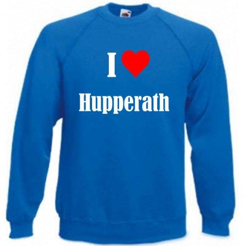 Reifen-Markt Sudadera I Love Hupperath para mujer, hombre y niños en los colores negro, blanco y azul con impresión azul M