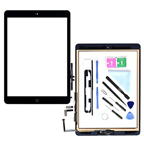 Compatible with ipad Air 1st (5th Generation) A1474 A1475 A1476 Touch Screen Glass Digitizer Replacement, Home Button Flex, Adhesive Tape,Repair Tools kit (Black)