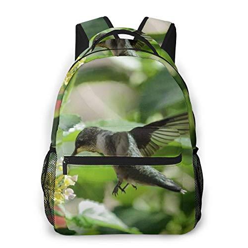 Lawenp Mochila Unisex de Moda Mochila de colibrí con Garganta de rubí Mochila Ligera para portátil para Viajes Escolares Acampar al Aire Libre