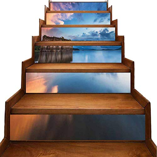 Stair Stickers Decals Wallpaper Long Exposure European Church in Dam with Water Historic Landmark Orange Blue Decals Removable Refurbished Stair Treads, W39.3 x H7 inch