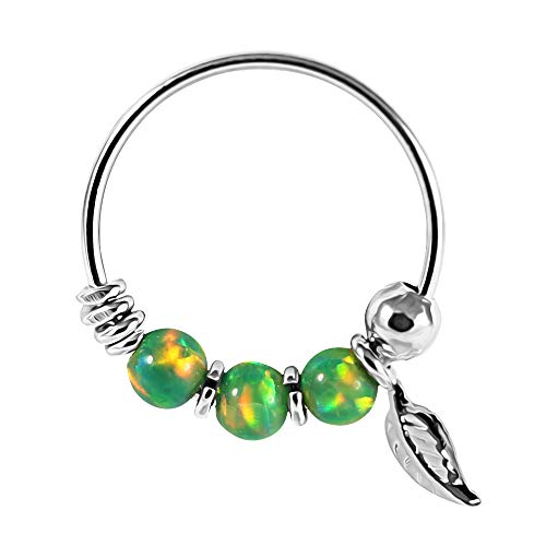 9K Solid White Gold Triple Grün Opal Bead mit Blatt 22 Gauge Hoop Nase Piercing Ring Schmuck