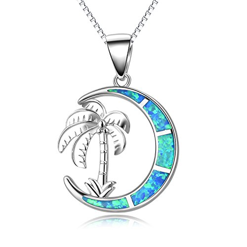 Palm Tree Blue Simulated Opal Moon Necklace, Sterling Silver Palm Tree Jewelry for Her, Summer Beach Style October Birthstone Christmas Gift Idea