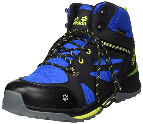 Jack Wolfskin Unisex Kinder Force Striker Texapore MID K Walking-Schuh, Black/Blue, 36 EU