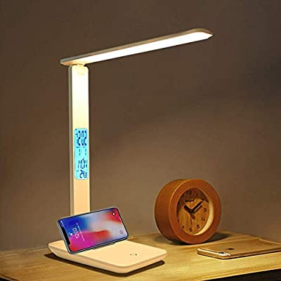 LED Desk Light Desk lamp Touch sensor dimming Charging table light Emergency possible 3-stage dimming dimming Eye-friendly alarm clock Smartphone holder Foldable reading/study/work