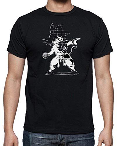 JUL Camiseta Dragon Ball, Goku Saga Anime de Son Goku y Vegeta,Camiseta Algodon (Negro, S)