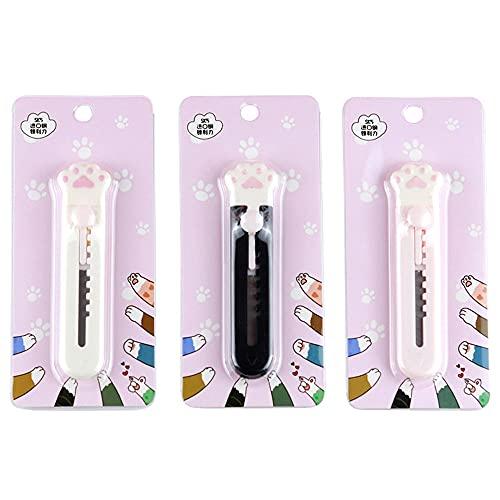 VOVIGGOL 3Pcs 猫の足ミニかわいいデザイン小さなユーティリティナイフブリスター包装黒と白の粉末3色オプション