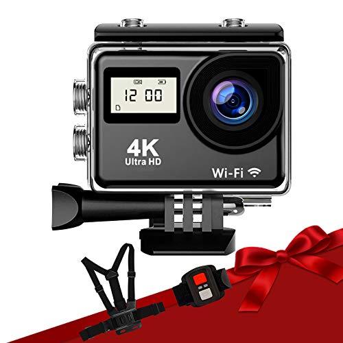 進化版アクションカメラ4K高画質2000万画素 Autbye無料チェストストラップ リモコン付きWiFi搭載ウェアラブルカメラ 170度広角900mAh大容量バッテリー双液晶画面水中カメラ 豊富なアクセサリー 日本語メニュー付