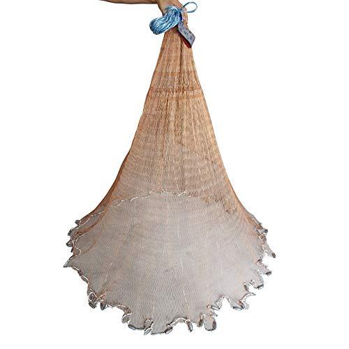 The Fisherman Handmade Fishing Cast Net with Heavy Duty Lead Sinker Weights for Bait Trap,Radius 4ft/5ft/6ft/7ft/8ft/9ft/10ft/11ft/12ft,Mesh Size 1/2inch,49 Feet Braided Hand line (3.16, 8 feet)