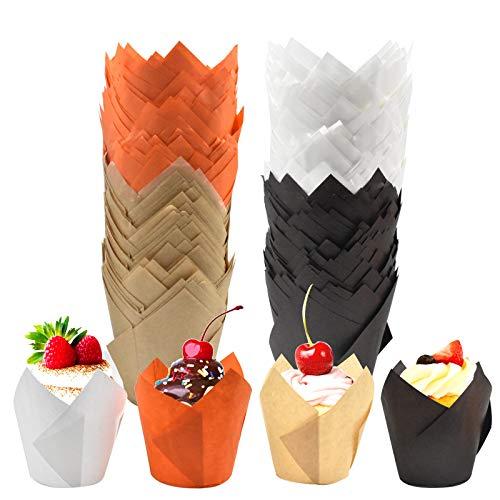 Chstarina 200 Pezzi Tulip Pirottini di Carta per Muffin, Tulipano Fodera, Cupcake Carta e Muffin, pirottini in Carta Marrone, per panifici, Catering, Matrimoni e Compleanni