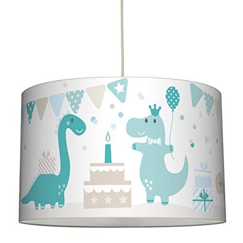 lovely label Hängelampe DINOPARTY Petrol/Taupe/HELLBLAU – Lampenschirm für Kinder/Baby, Schirm mit Dinosauriern – Komplette Hängeleuchte für Kinderzimmer Mädchen & Junge