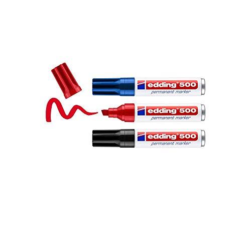 edding 500 Permanentmarker - mehrfarbig - 3 Stifte - Keil-Spitze 2-7 mm - wasserfest, schnell-trocknend - wischfest - für Karton, Kunststoff, Holz, Metall, Glas