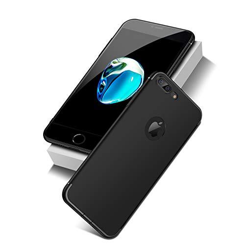 NEW'C Funda para iPhone 7 Plus y iPhone 8 Plus, en Silicona Negra [Ultra Thin and Light in Soft TPU Gel] Funda Protectora con absorción de Impactos y antiarañazos
