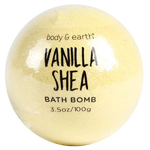 BODY & EARTH Bath Bombs 8 X 3.5 oz Natural Essential Oils Vanilla Shea Handmade Daily Use Bubble Bath for Family, Women, Men, Kids