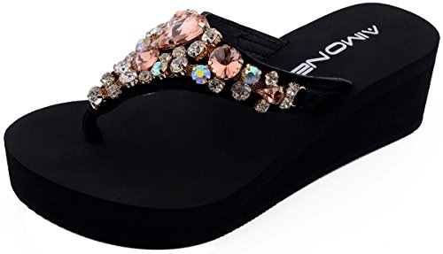 AIMONE_Aurelie Flip Flops for Women Black Platform Wedge Peach Bling Rhinestone Sandals(8 M US)