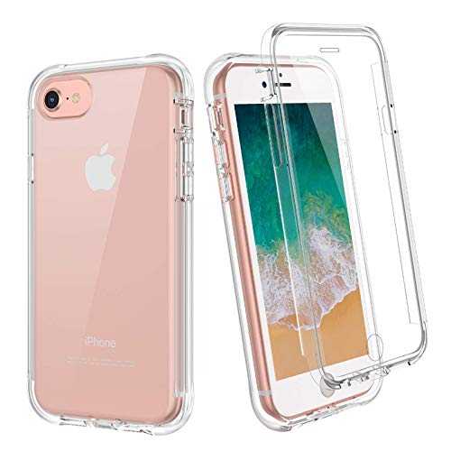 """Ruky Clear Case for iPhone 6 6S 7 8 SE 2020, Full Body Rugged Cover with Built-in Screen Protector Soft TPU Shockproof Bumper Protective Girls Women Phone Case for 6 6s 7 8 SE 2020 4.7"""", Crystal Clear"""