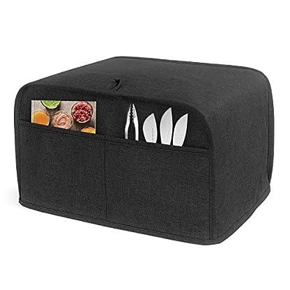 Luxja-Toaster-Abdeckung-fuer-4-Scheiben-318-x-254-x-203-cm-Toaster-Abdeckung-mit-2-Taschen-passend-fuer-die-meisten-grossen-4-Scheiben-Toaster-schwarz