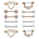 NASAMA Stainless Steel Acrylic Nipple Rings Tongue Ring CZ Barbell Heart-Shape Piercing Body Jewelry (6pair Rose gold)