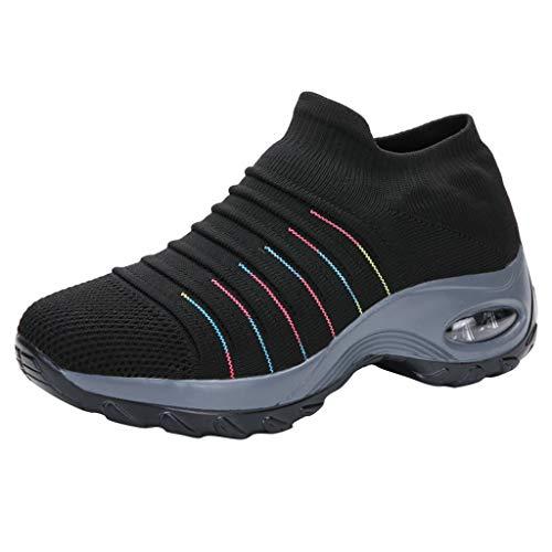 DAIFINEY Damen Freizeitschuh Sneaker Mesh Leichte Modische Turnschuhe Freizeit Atmungsaktiv Sportlicher Trainingsschuh Sportschuhe Laufschuhe(2-Schwarz/Black,39)