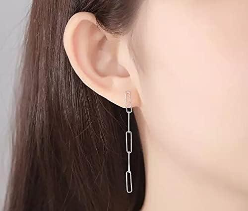 925 Sterling Sliver Simple Long Link Earrings for her