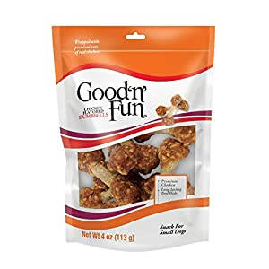 Good 'n' Fun Chicken Flavored Dumbbells 4 Ounces, Rawhide Snacks for Small Dogs